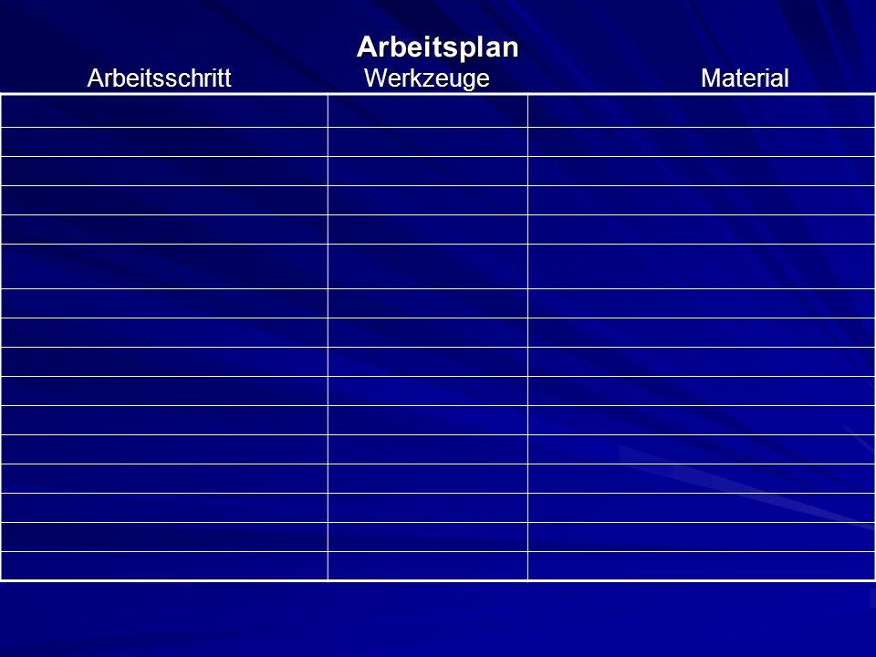 Arbeitsplan Arbeitsschritt Werkzeuge Material