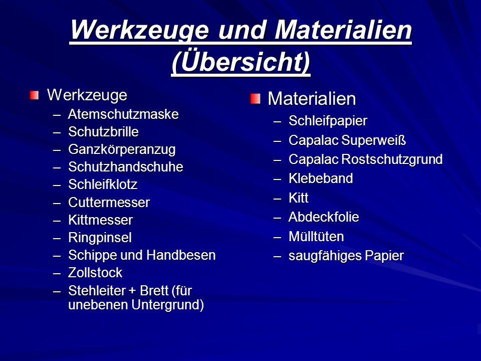 Werkzeuge und Materialien (Übersicht)