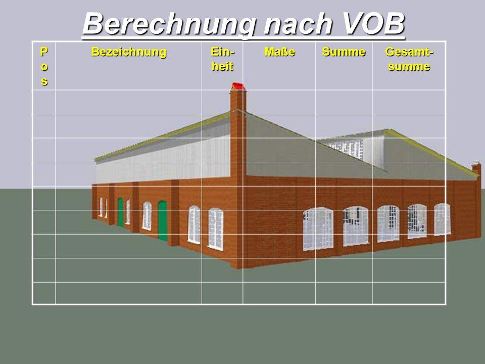 Berechnung nach VOB Pos Bezeichnung Ein-heit Maße Summe Gesamt-summe