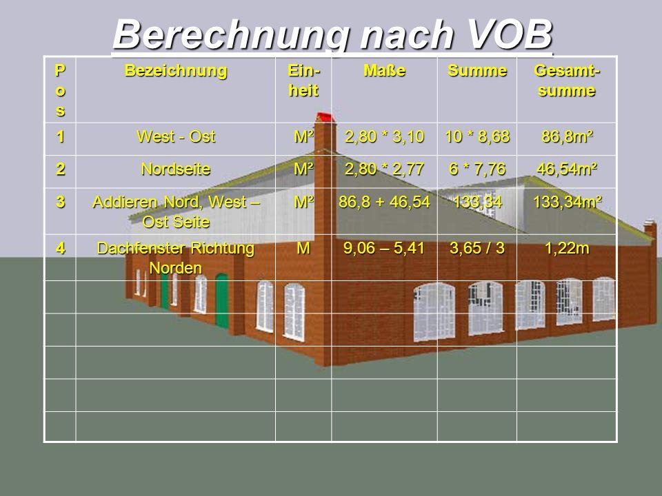 Berechnung nach VOB Pos Bezeichnung Ein-heit Maße Summe Gesamt-summe 1