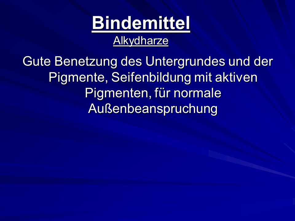 Bindemittel Alkydharze