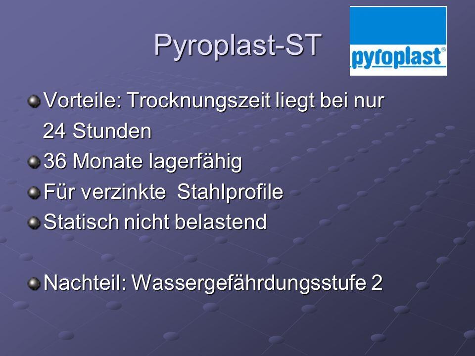 Pyroplast-ST Vorteile: Trocknungszeit liegt bei nur 24 Stunden