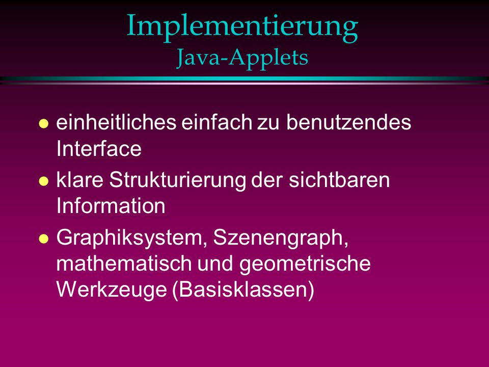 Implementierung Java-Applets