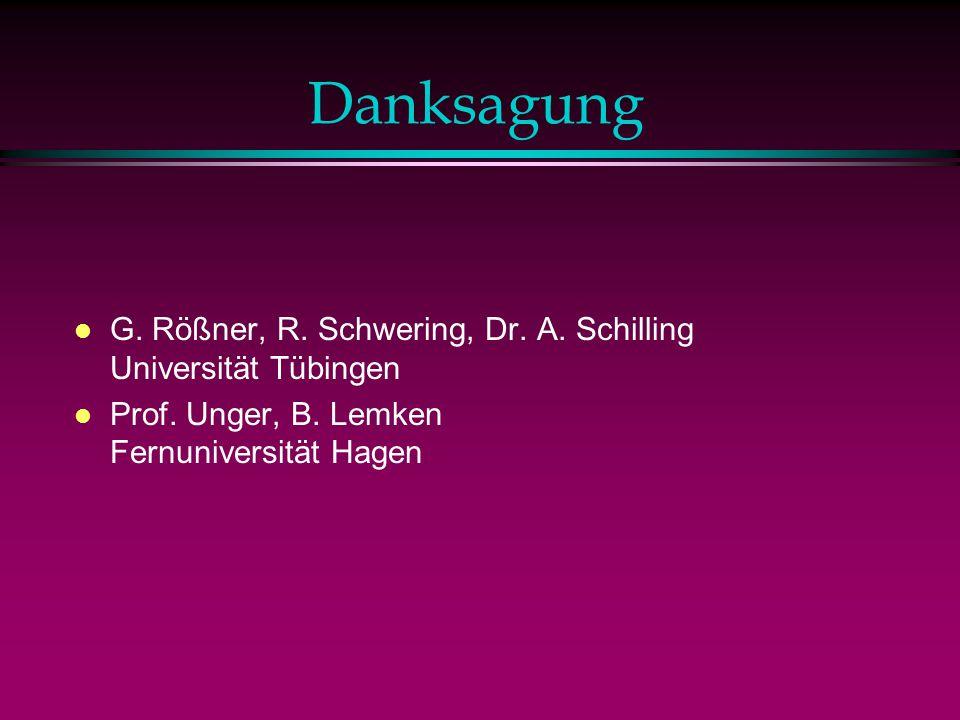 Danksagung G. Rößner, R. Schwering, Dr. A. Schilling Universität Tübingen.