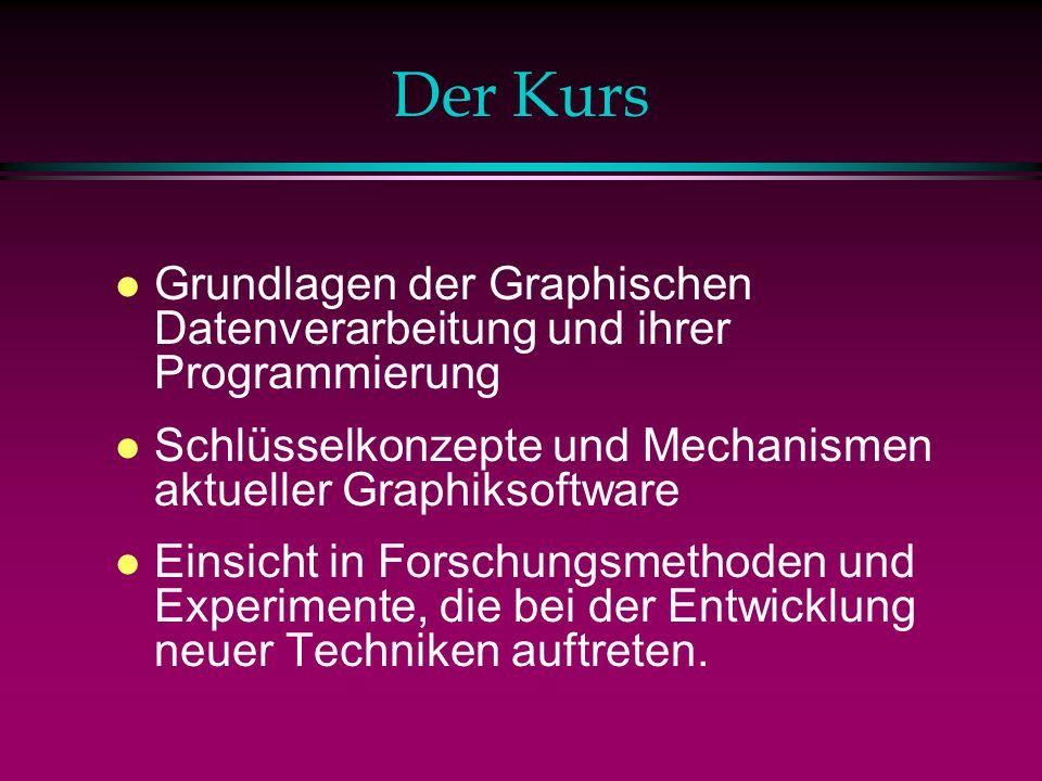 Der Kurs Grundlagen der Graphischen Datenverarbeitung und ihrer Programmierung. Schlüsselkonzepte und Mechanismen aktueller Graphiksoftware.