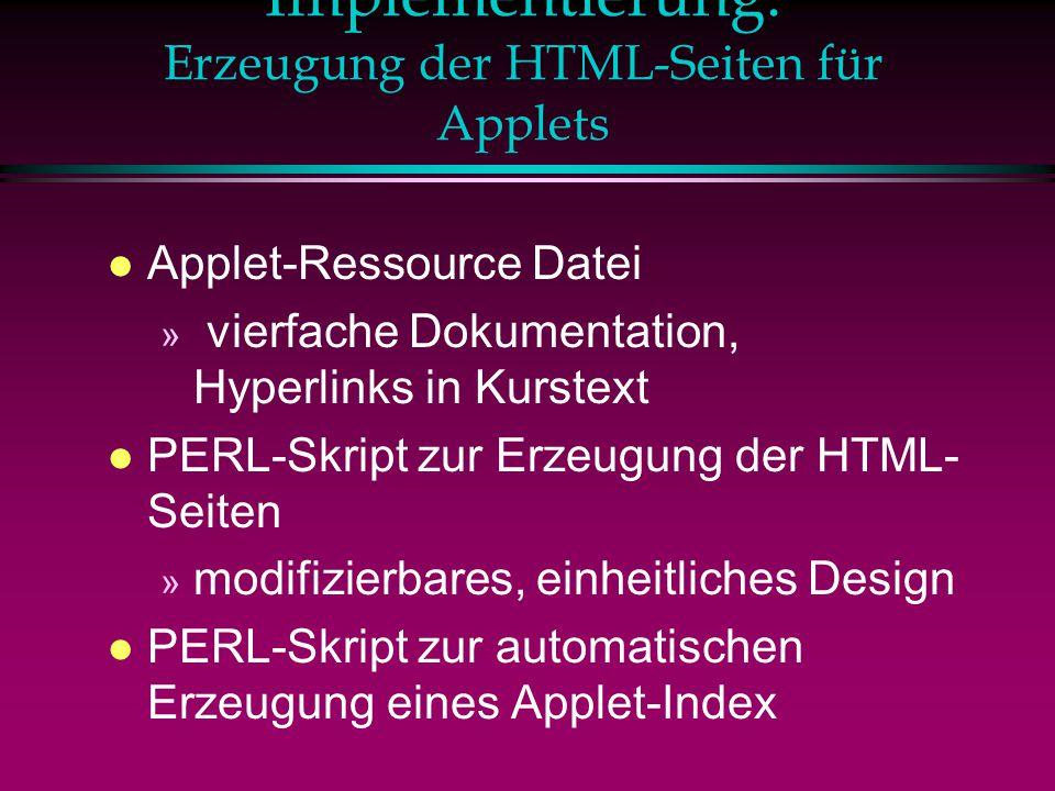 Implementierung: Erzeugung der HTML-Seiten für Applets