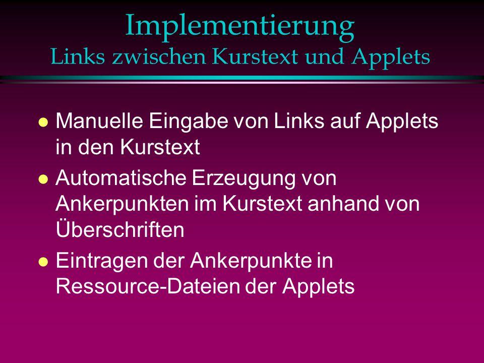 Implementierung Links zwischen Kurstext und Applets