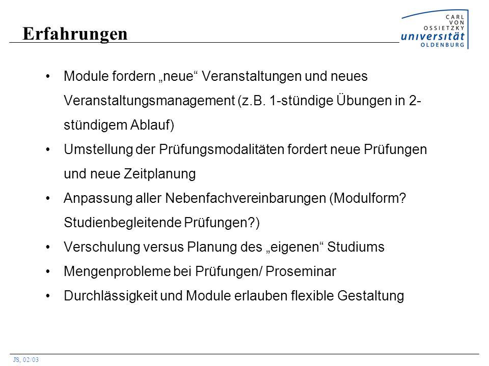 """Erfahrungen Module fordern """"neue Veranstaltungen und neues Veranstaltungsmanagement (z.B. 1-stündige Übungen in 2-stündigem Ablauf)"""