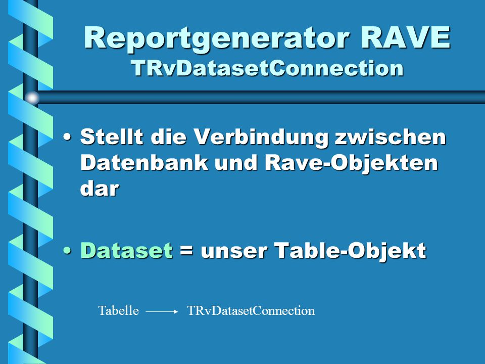 Reportgenerator RAVE TRvDatasetConnection