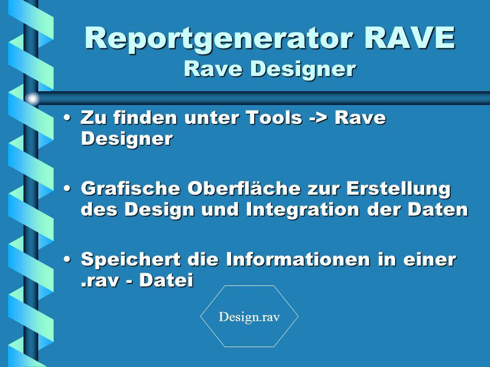 Reportgenerator RAVE Rave Designer