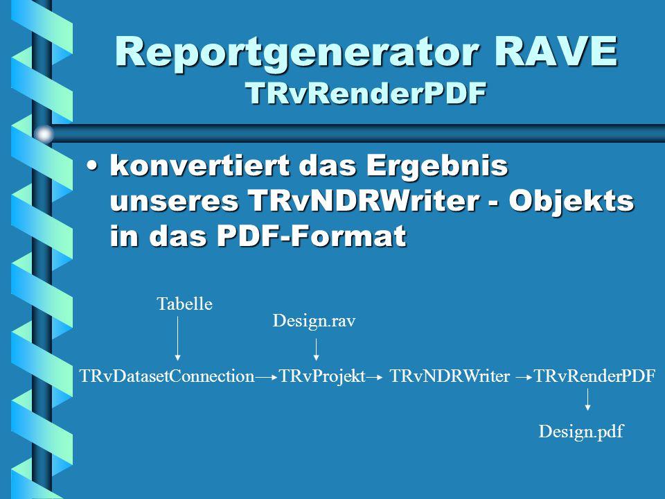 Reportgenerator RAVE TRvRenderPDF