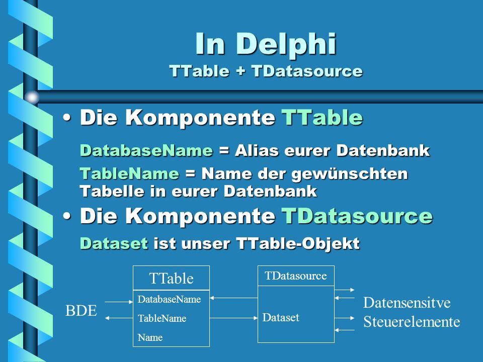 In Delphi TTable + TDatasource