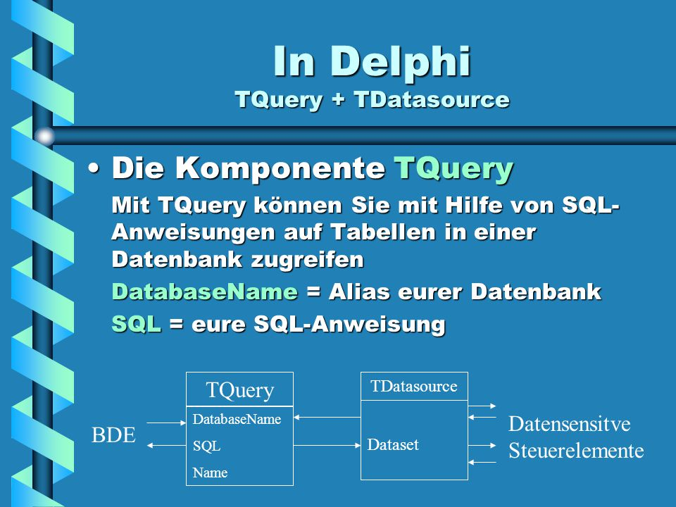 In Delphi TQuery + TDatasource