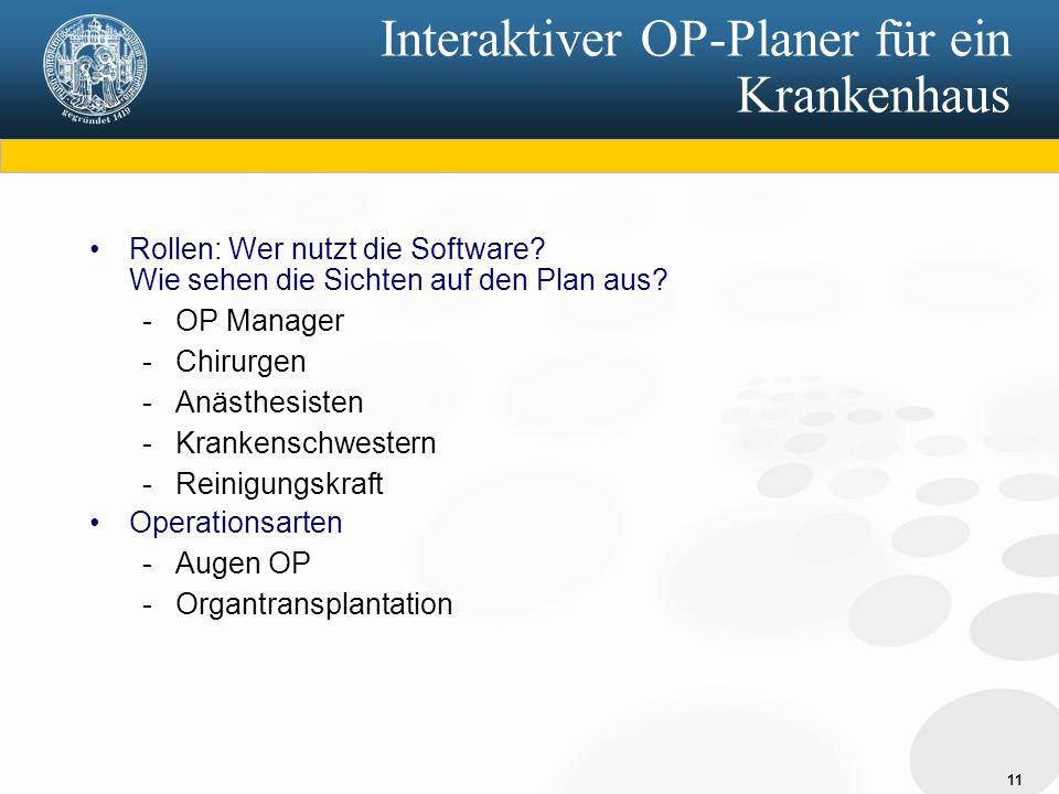 Interaktiver OP-Planer für ein Krankenhaus