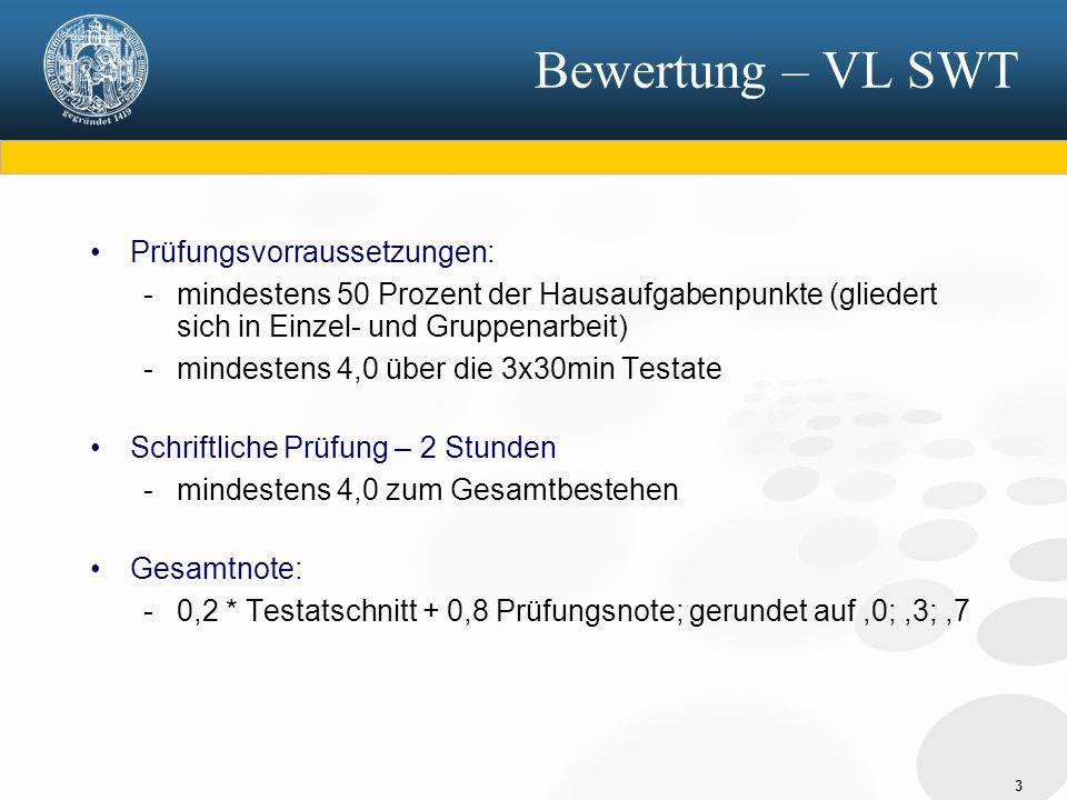 Bewertung – VL SWT Prüfungsvorraussetzungen: