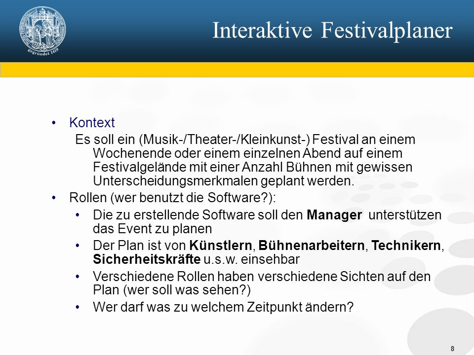 Interaktive Festivalplaner
