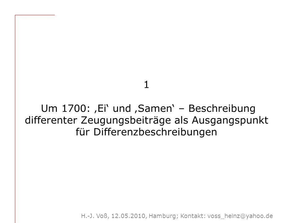 Gliederung: Um 1700: 'Ei' und 'Samen' – Beschreibung differenter Zeugungsbeiträge als Ausgangspunkt für Differenzbeschreibungen.