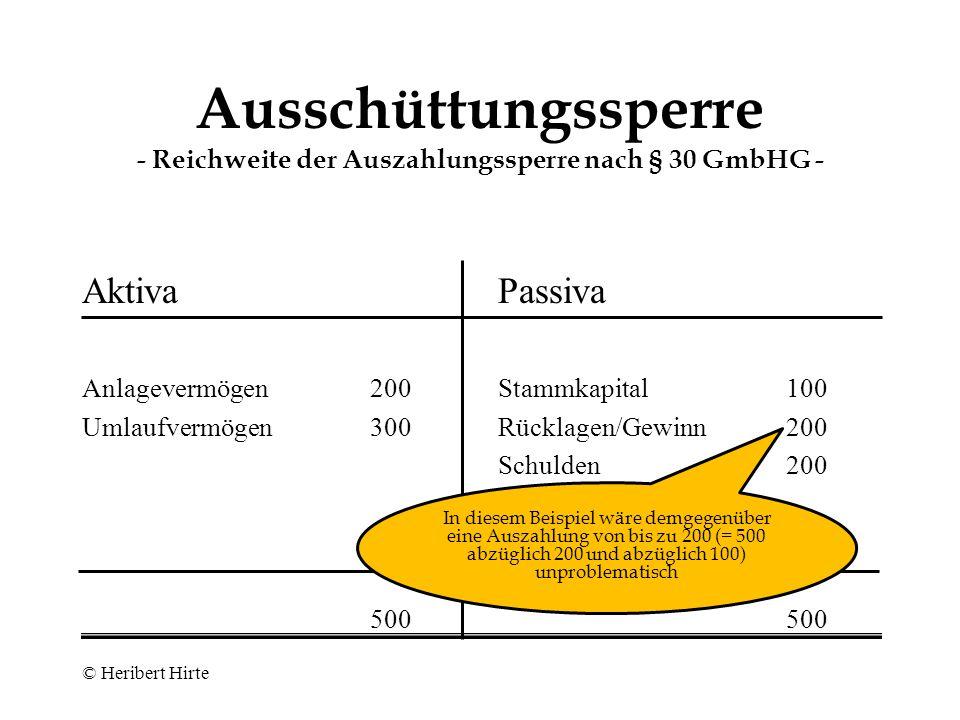 Ausschüttungssperre - Reichweite der Auszahlungssperre nach § 30 GmbHG -