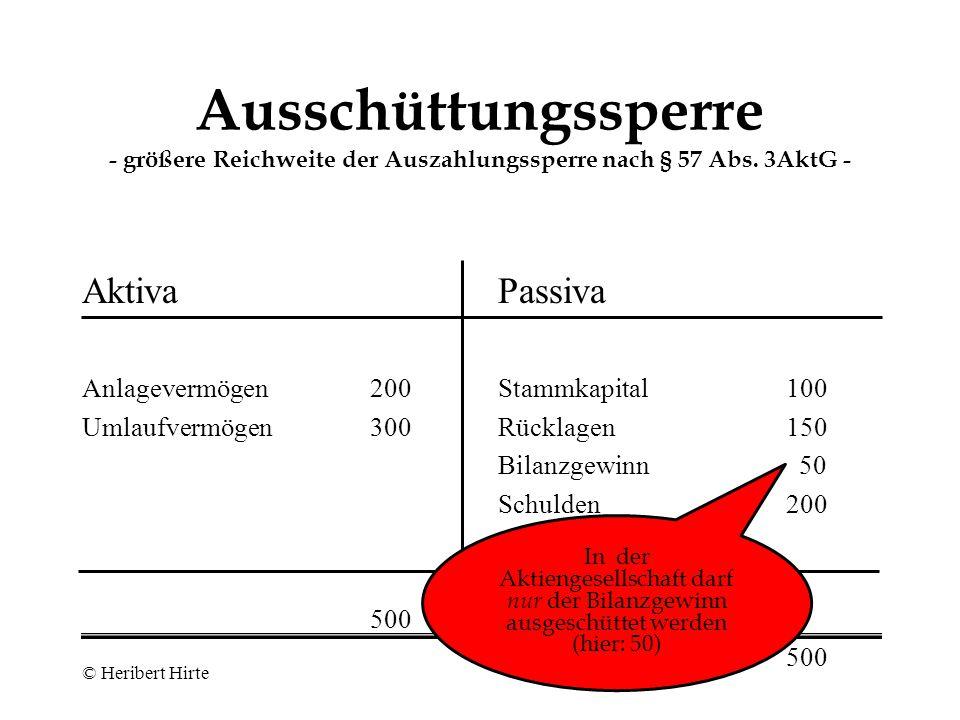 Ausschüttungssperre - größere Reichweite der Auszahlungssperre nach § 57 Abs. 3AktG -