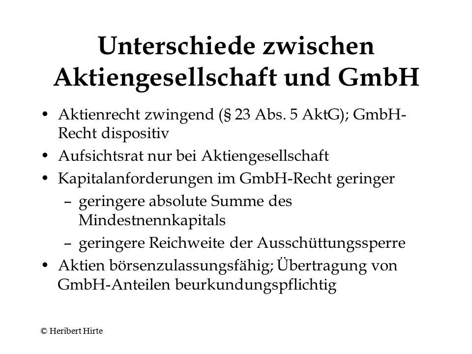Unterschiede zwischen Aktiengesellschaft und GmbH