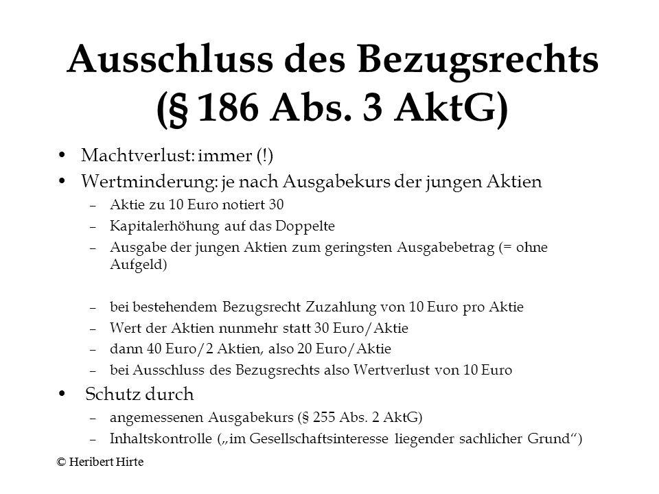 Ausschluss des Bezugsrechts (§ 186 Abs. 3 AktG)