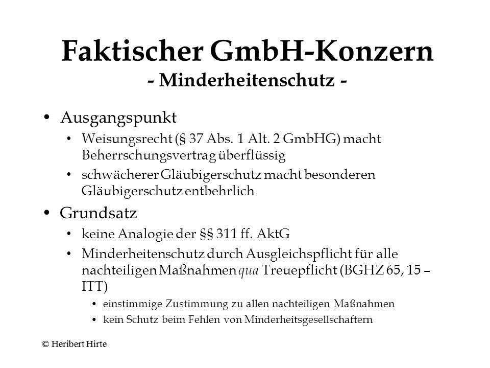 Faktischer GmbH-Konzern - Minderheitenschutz -