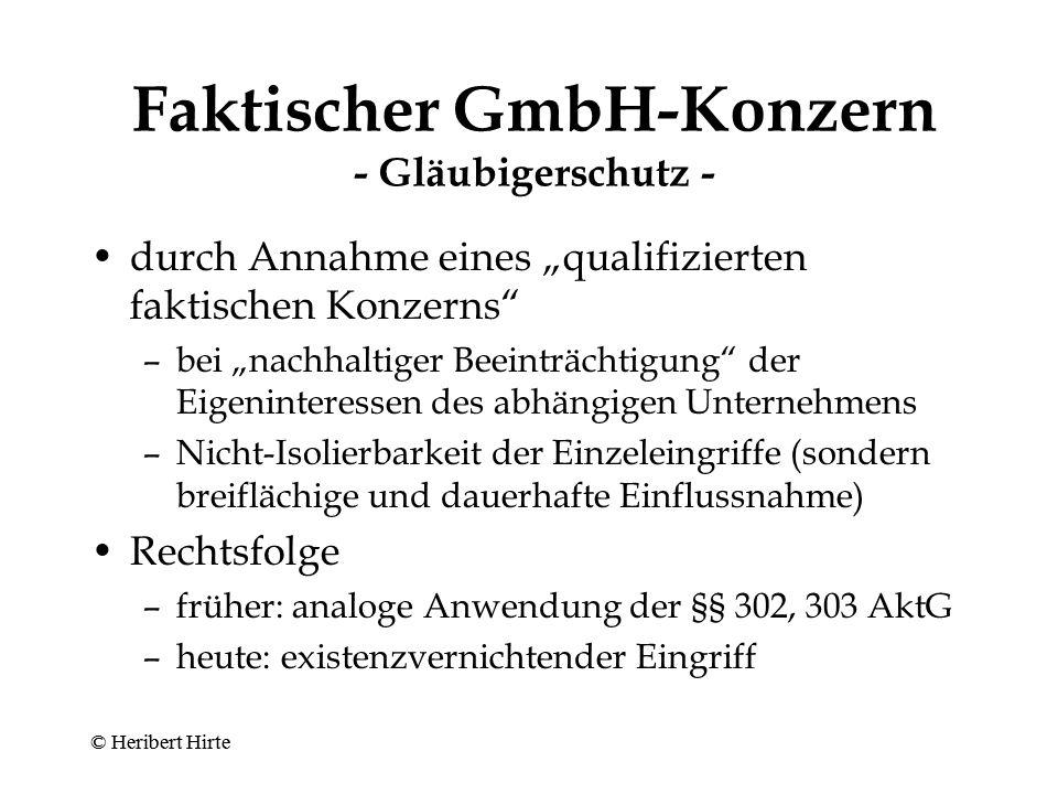 Faktischer GmbH-Konzern - Gläubigerschutz -