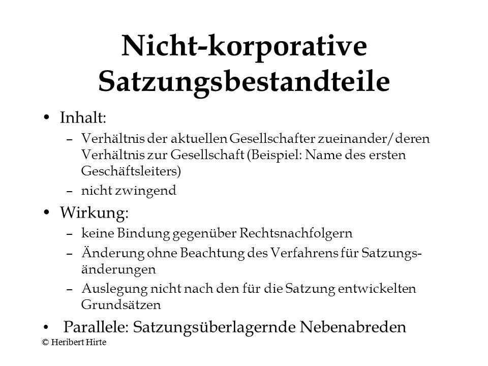 Nicht-korporative Satzungsbestandteile