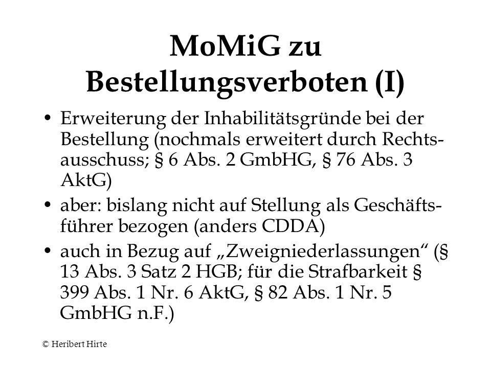 MoMiG zu Bestellungsverboten (I)