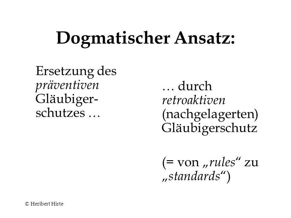 Dogmatischer Ansatz: Ersetzung des präventiven Gläubiger-schutzes …