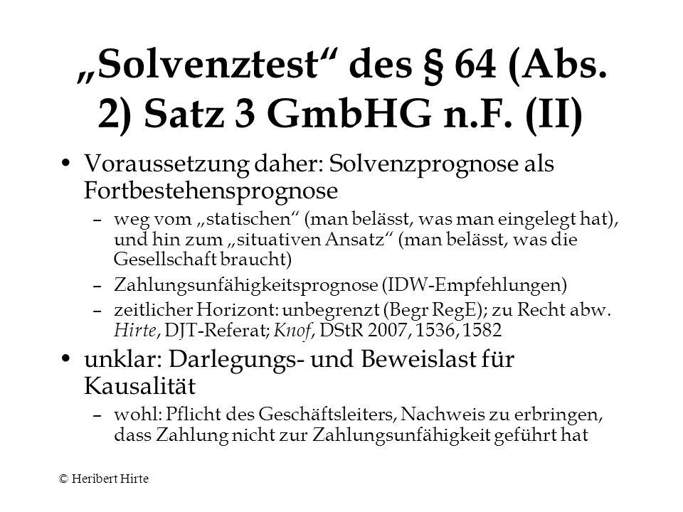 """""""Solvenztest des § 64 (Abs. 2) Satz 3 GmbHG n.F. (II)"""