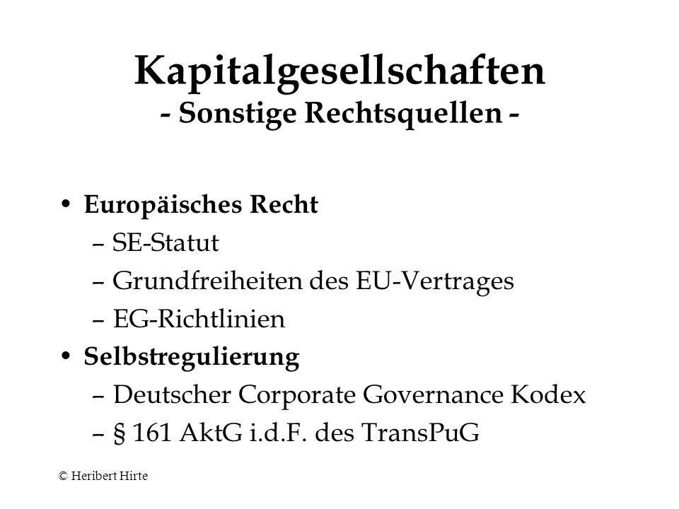Kapitalgesellschaften - Sonstige Rechtsquellen -