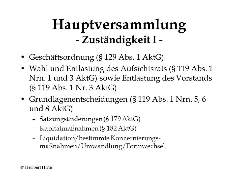 Hauptversammlung - Zuständigkeit I -