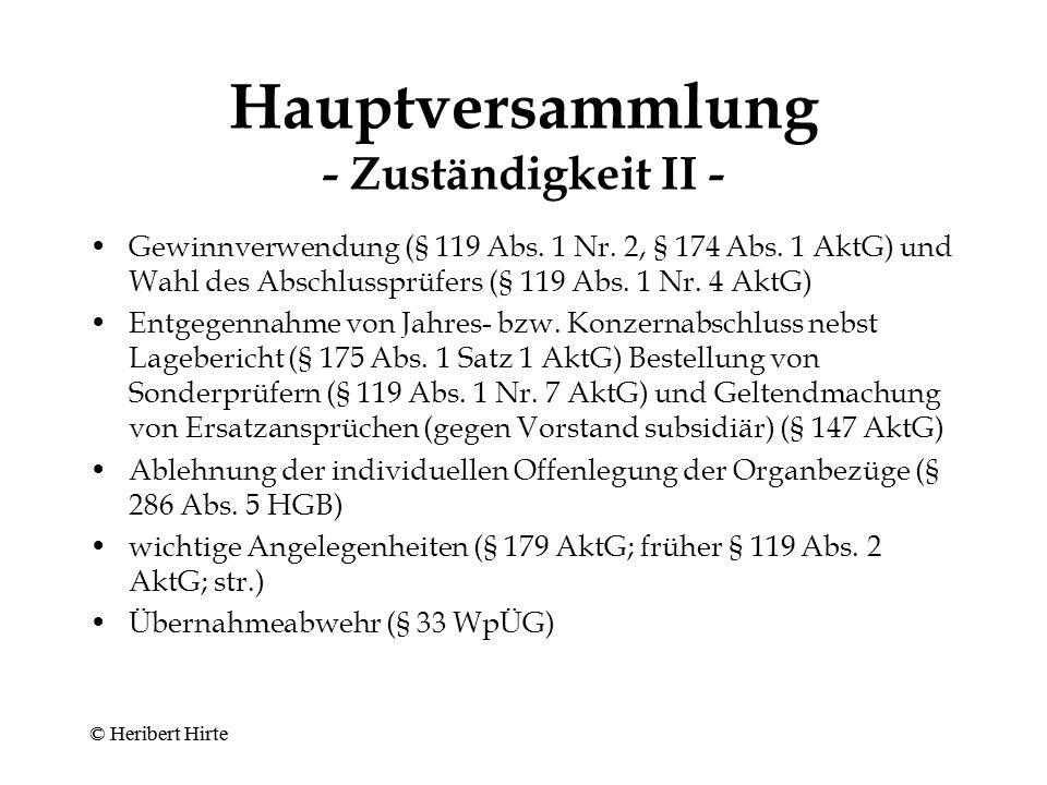 Hauptversammlung - Zuständigkeit II -