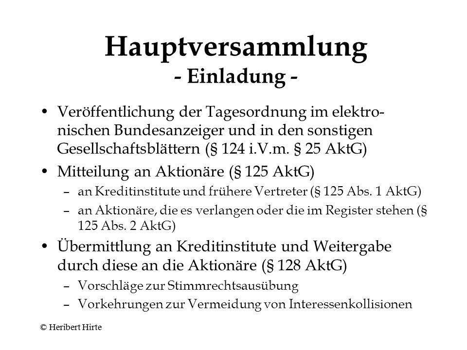 Hauptversammlung - Einladung -