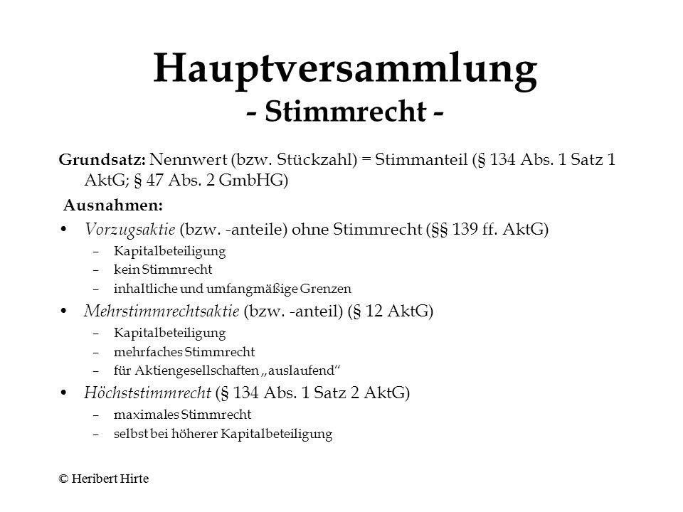 Hauptversammlung - Stimmrecht -