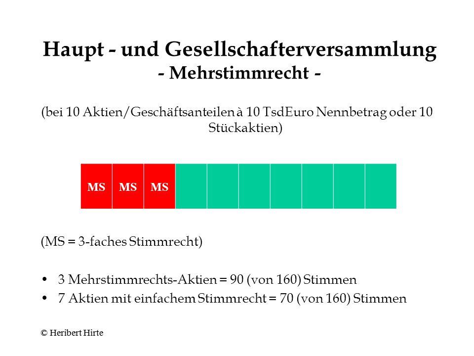 Haupt - und Gesellschafterversammlung - Mehrstimmrecht -