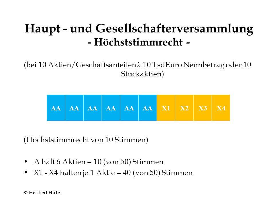 Haupt - und Gesellschafterversammlung - Höchststimmrecht -