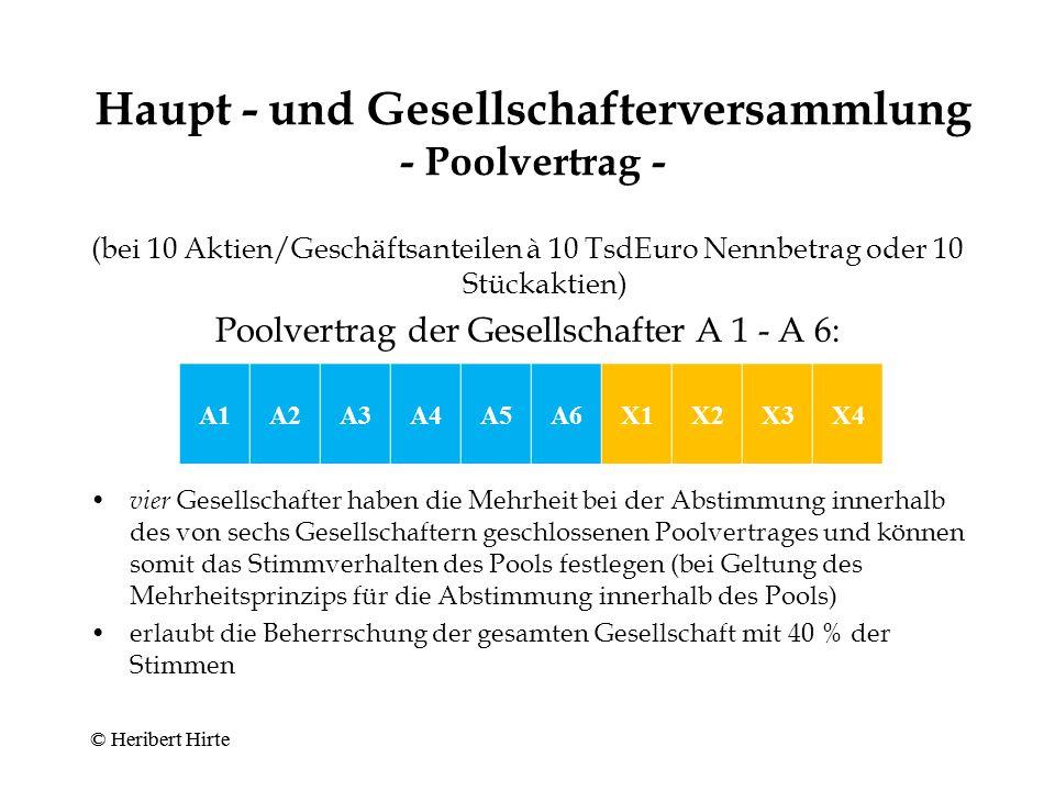 Haupt - und Gesellschafterversammlung - Poolvertrag -