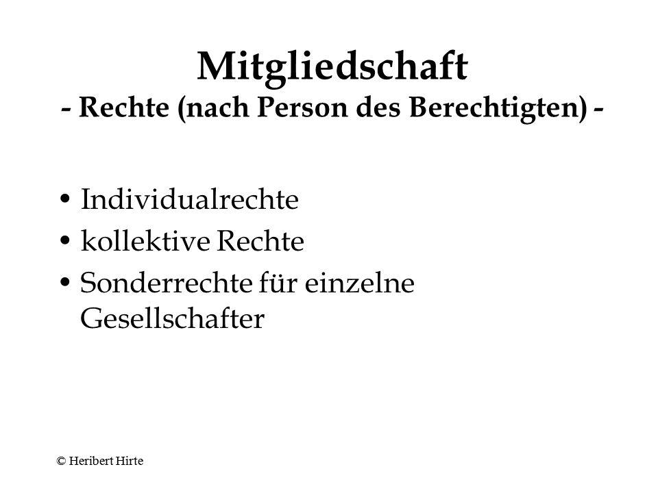 Mitgliedschaft - Rechte (nach Person des Berechtigten) -