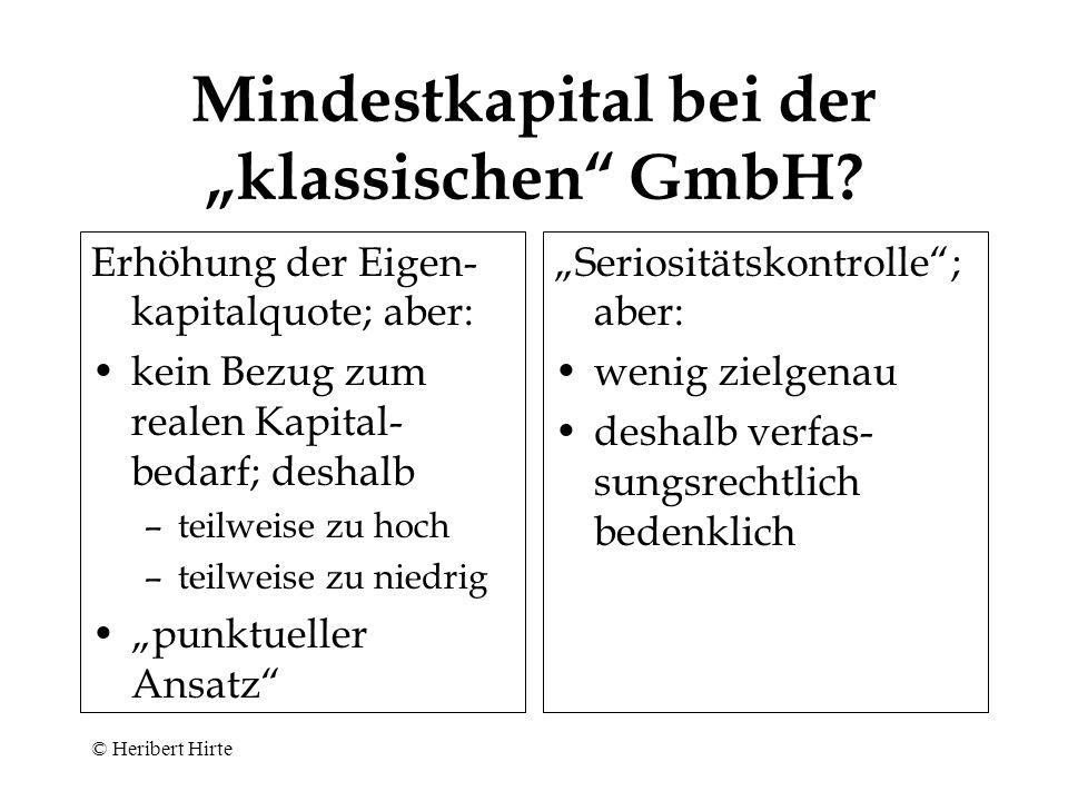 """Mindestkapital bei der """"klassischen GmbH"""