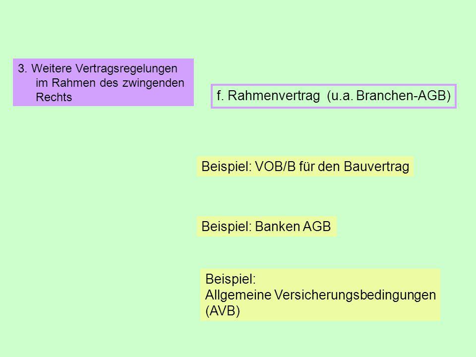 f. Rahmenvertrag (u.a. Branchen-AGB)
