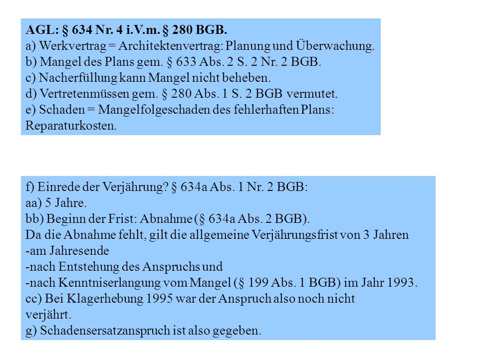 AGL: § 634 Nr. 4 i.V.m. § 280 BGB. a) Werkvertrag = Architektenvertrag: Planung und Überwachung.