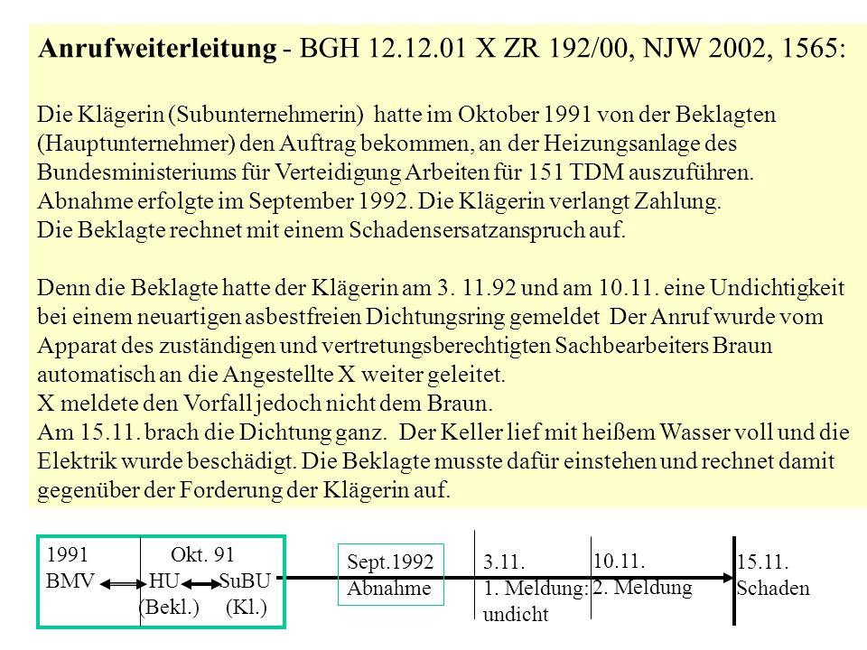 Anrufweiterleitung - BGH 12.12.01 X ZR 192/00, NJW 2002, 1565: