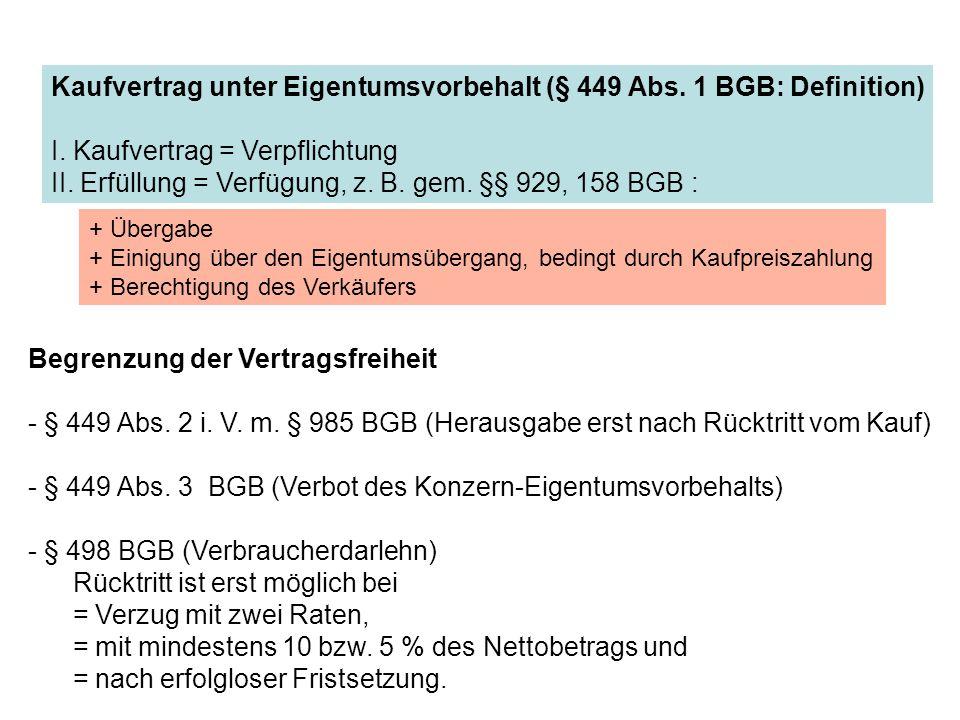 Kaufvertrag unter Eigentumsvorbehalt (§ 449 Abs. 1 BGB: Definition)
