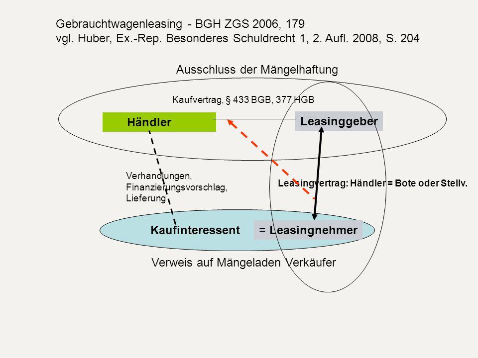 Gebrauchtwagenleasing - BGH ZGS 2006, 179