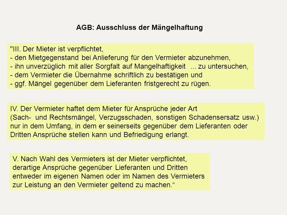 AGB: Ausschluss der Mängelhaftung