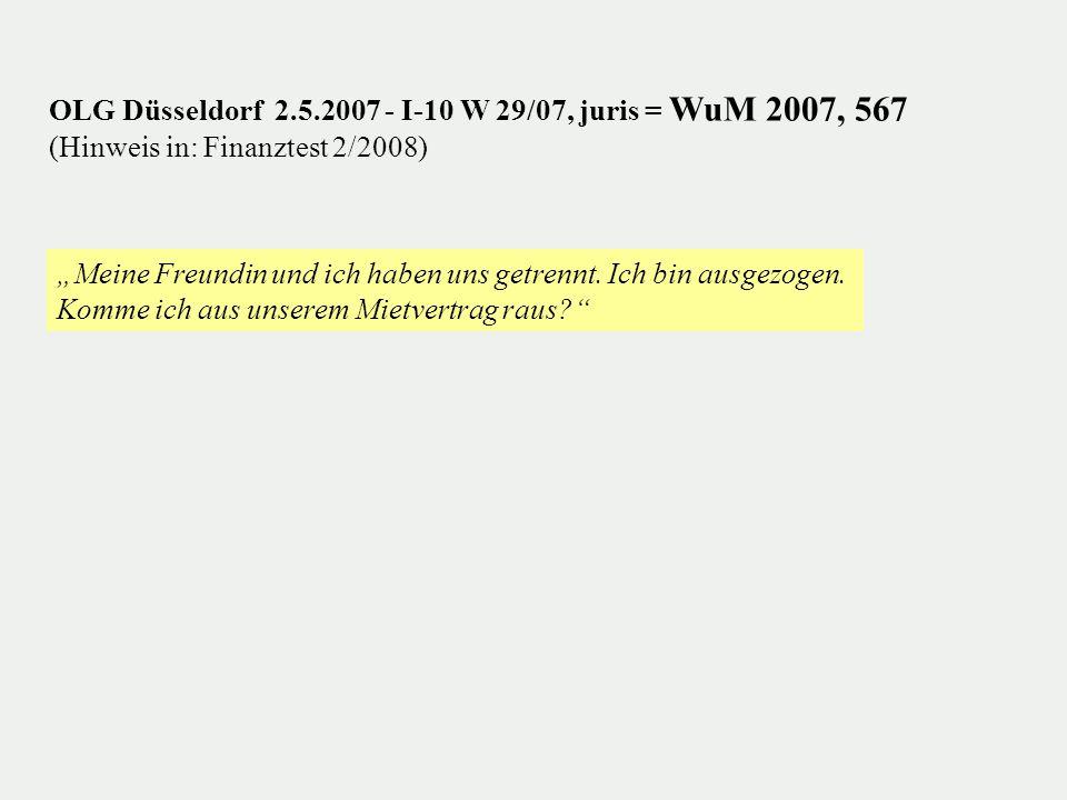 OLG Düsseldorf 2.5.2007 - I-10 W 29/07, juris = WuM 2007, 567