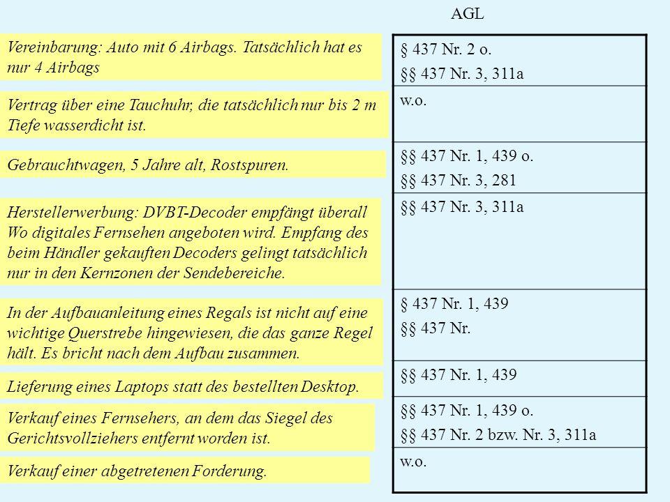 AGL Vereinbarung: Auto mit 6 Airbags. Tatsächlich hat es. nur 4 Airbags. § 437 Nr. 2 o. §§ 437 Nr. 3, 311a.