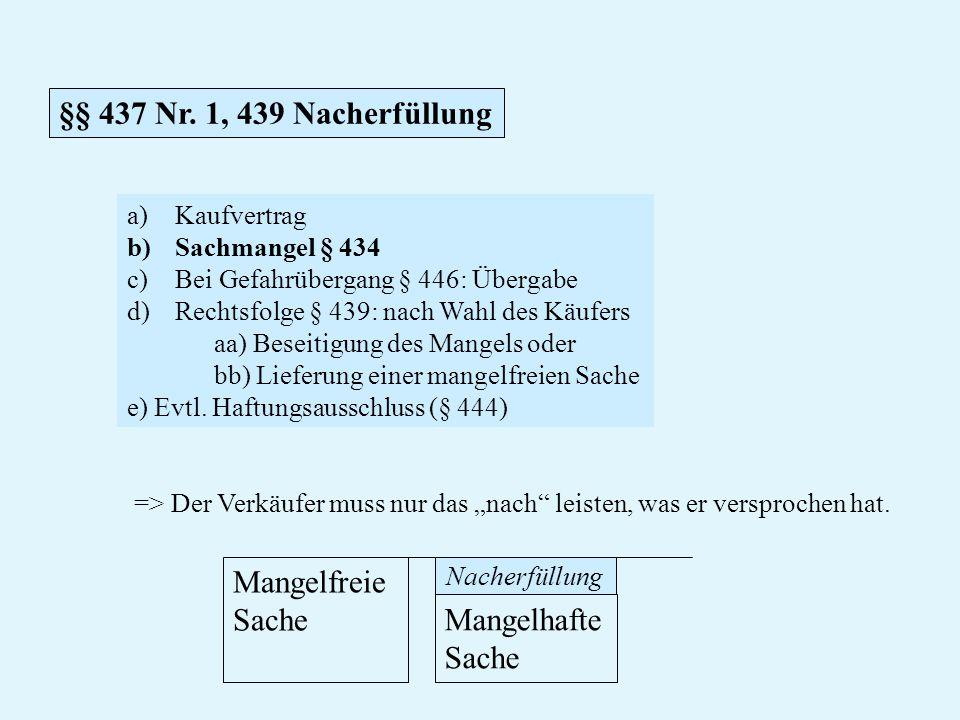 §§ 437 Nr. 1, 439 Nacherfüllung Mangelfreie Sache Mangelhafte Sache